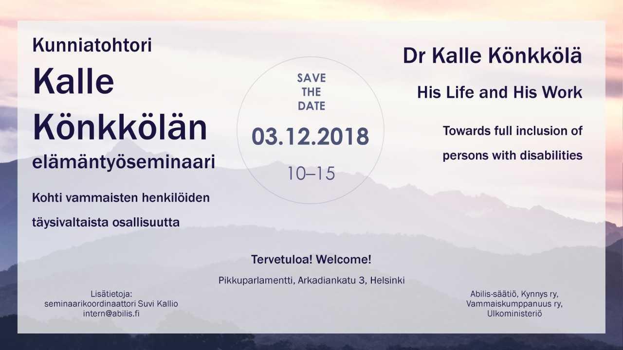 Kalle Könkkölän elämäntyöseminaari 3.12.2018