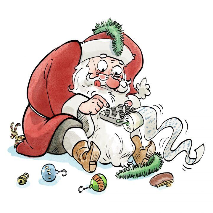 Kuvassa on joulupukki laskimen kanssa.