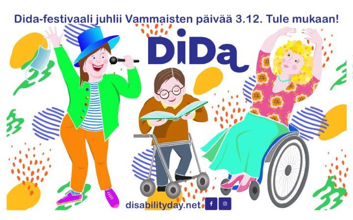Piirroskuvassa on Didan logo ja 3 esiintyjää: yksi seisten, toinen kävelitelineellä ja kolmas pyörätuolissa.